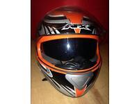 AFX FX-100 Full Face Motorbike / Motorcycle Helmet. Black, orange, silver and white. Size M