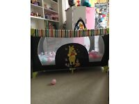 Disney travel cot with mothercare mattress