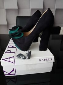 Excellent Condition Kapri's Black Teal Green Suede Chunky Block High Heeled Heel Shoes UK 5 EU 38