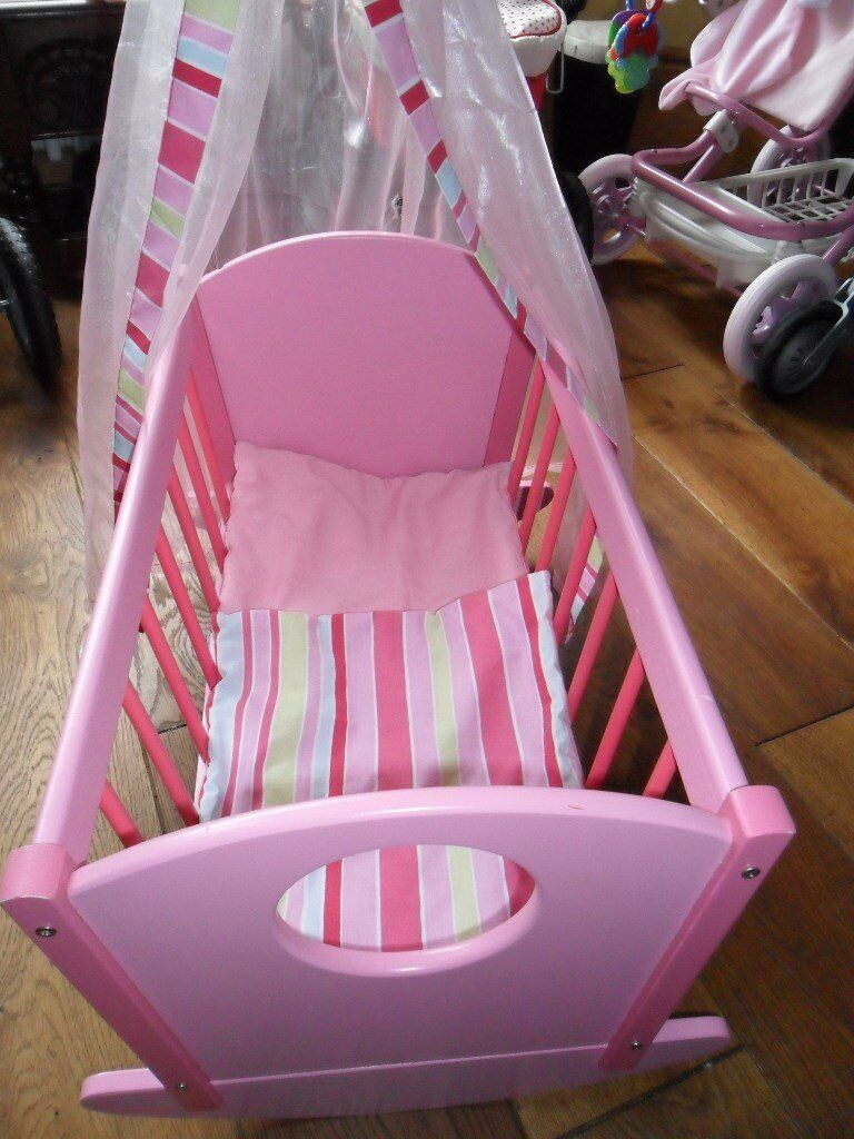 Baby Dolls Wooden Pink Rocking Cot With Canopy And Covers