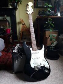 Fender Squier Strat + Fender 15w amp + leads etc For Sale