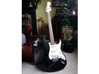 Fender Squier Strat + Fender 15w amp + leads etc For Sale
