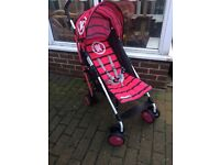 Koochi pushchair multiple positions dark pink n black hardly used comes with raincover