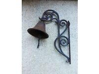 OUTDOOR GARDEN ORNAMENT - HANGING BELL - RUSTIC METAL
