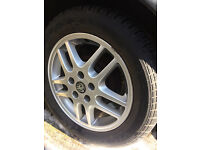 Set of 4 Vauxhall 5 stud alloy wheels with 3 new tyres
