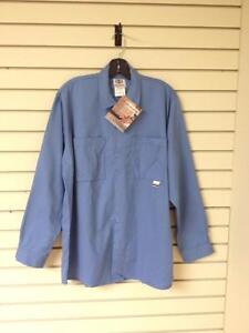 Geliget Flame Resistant FR Long Sleeve Blue Work Shirt (Brand New)
