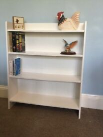 White Solid Wood Bookcase with 4 Shelves H36in/91cmW30.5in/77cmD9in/23cm