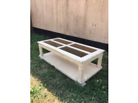Vintage Style (Chalk Painted) Coffee table on wheels with glass panels