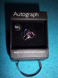 New M&S Ladies Swarovski Ring Size Medium / Large IP1