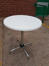 New White wood effect round cafe tables / White Bistro tables
