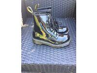 Size 4 Original Black Patent Dr Martens boots. Never worn!