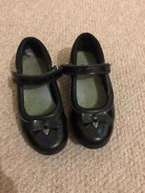 Girls black leather school shoes, Clarks size 10