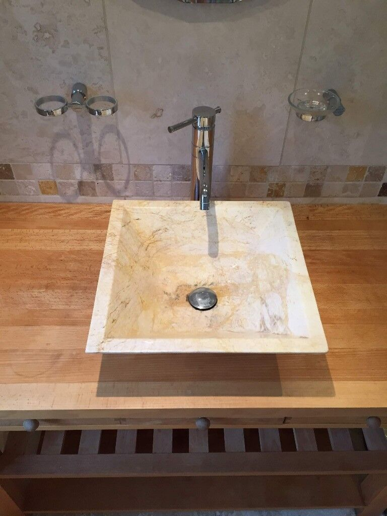 Solid wood free standing bathroom sink unit incl sink and taps