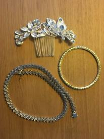 Necklace, bangles & hair comb