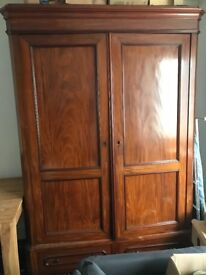 Antique French Mahogany Clothes Cupboard