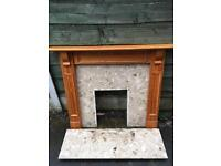 Fire surround with marble hearth and backboard