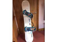 Men's Salomon 152cm Snowboard and Salomon medium bindings, Brand new, never been used