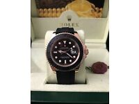 Rolex YachtMaster, Black & RoseGold. With Box, Bag & Paperwork
