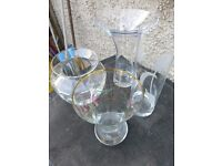 4 Clear Glass+4 Red Bohemia Glass Vases- £50-The lot