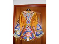 Child's gold Irish Dancing dress - suit approx age 7-8 years. Matching crown. Only £85 ono.