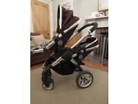 Icandy Peach Blossom Twin/ Double Pram/ Buggy/ Stroller Travel System -Black Jack