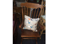 Lovely Vintage Traditional Solid Pine Farmhouse Stick-Back Rocking Chair