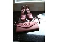 Clark's dusky pink satin shoes, size 6 and matching bag