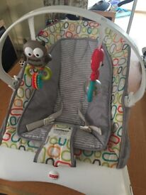 Baby bouncing chair only been used a few times so in good condition. Vibrates too