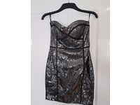 Black / Silver Sequin Party dress - Size 10 - Jane Norman