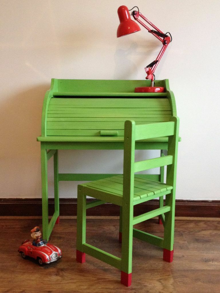 Hand Painted Childs Kids Roll Top Desk Chair Annie Sloan - Childrens Roll Top Desk Desk Design Ideas