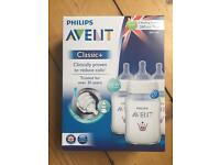 Philips Avent large (260ml) Classic+ baby bottles x 3 (new and boxed)