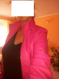 Pink bomber leather jacket size M ( 8-12)