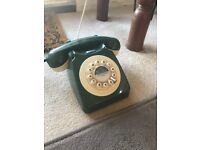 Home Phone Old Style Telephone Vintage Retro Style Green