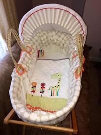 Mamas & Papas Jamboree Moses basket & stand immaculate
