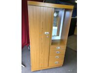 WOODEN WARDROBE WITH MIRROR AND 4 DRAWS ,CAN DELIVER