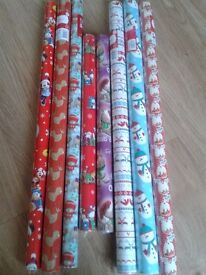 8 X ROLLS OF NEW CHRISTMAS PAPER, ASSORTED