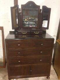 mahogany chest of drawers and dressing table mirror