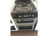 Black & silver flavel 60cm gas cooker grill & double ovens good condition with guarantee