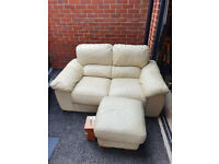 Cream Two Seater Leather Sofa + Matching Footstool