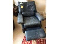 Shabby chic slate coloured reclining leather chair. This chair looks vintage with age!
