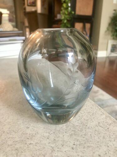 Vtg  STROMBERGSHYTTAN Swedish Etched Glass Bud VASE