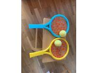 Kids tennis racket and ball