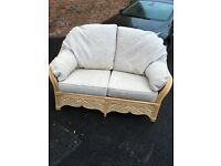 Cane Furniture set; Sofa, Glass Top Table, 4 Chairs, Footstool