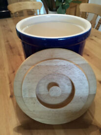 Blue Ceramic T G Green Pottery Cloverleaf Bread Bin Crock and Utensil Holder
