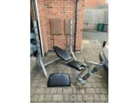 York heavy duty bench press with leg extension and preacher curl attachment