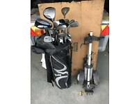 Golf clubs for sale including bag and trolley