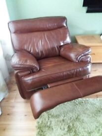 Good Quality Brown Leather 3 piece Suite