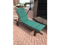 Solid hardwood sun beds with covers