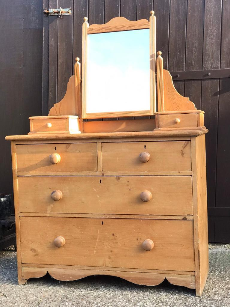 new arrival dcc9c e084a Antique pine dressing table chest drawers mirror | in Northampton,  Northamptonshire | Gumtree
