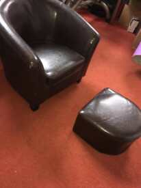 Small leather chair + footrest